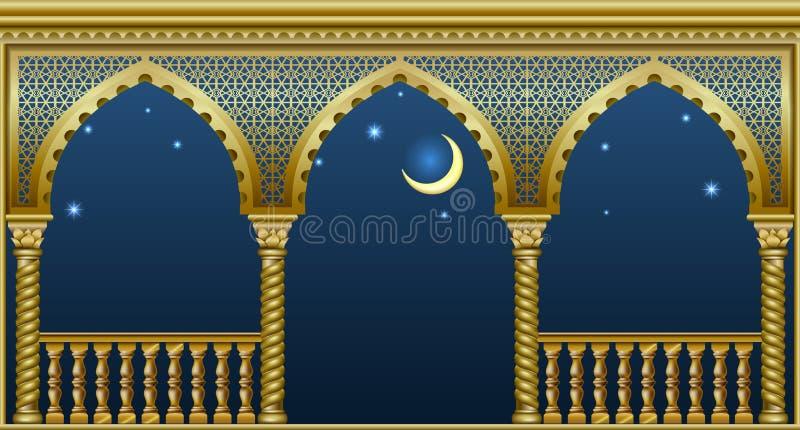 Balcão do palácio do conto de fadas ilustração stock