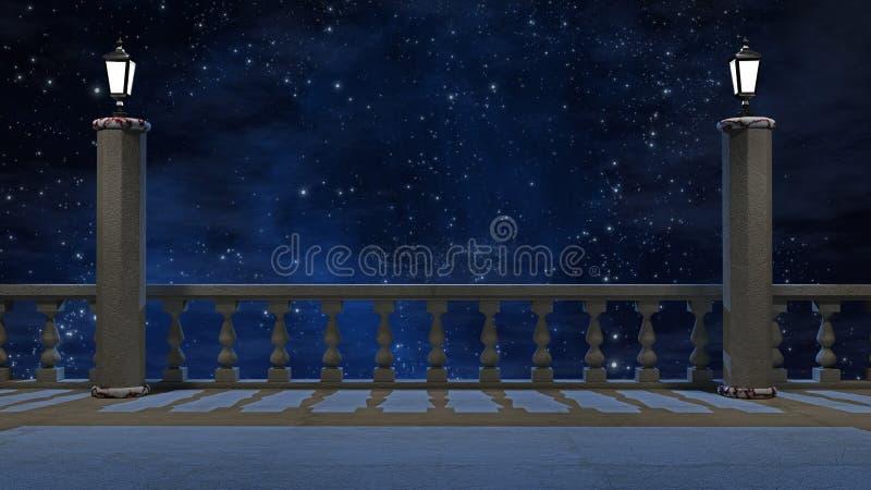 Balcão do vintage com vista do céu noturno bonito ilustração do vetor