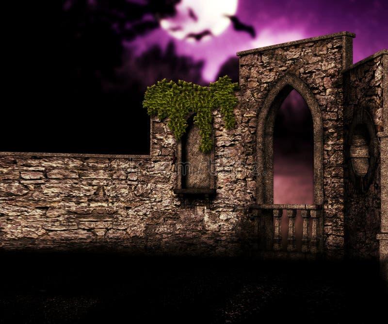 Balcão no castelo na noite ilustração do vetor