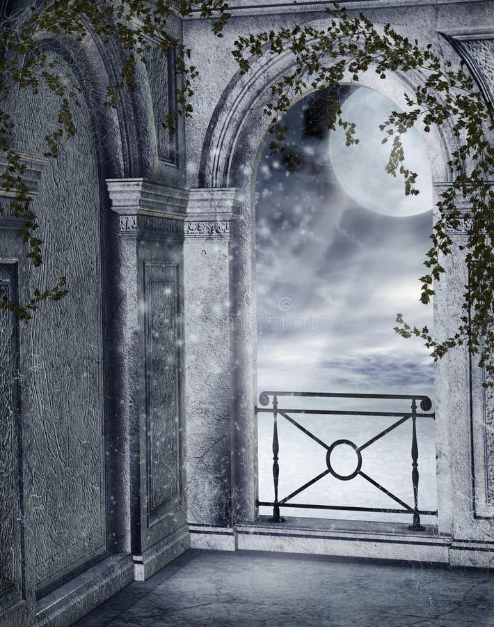 Balcón gótico ilustración del vector