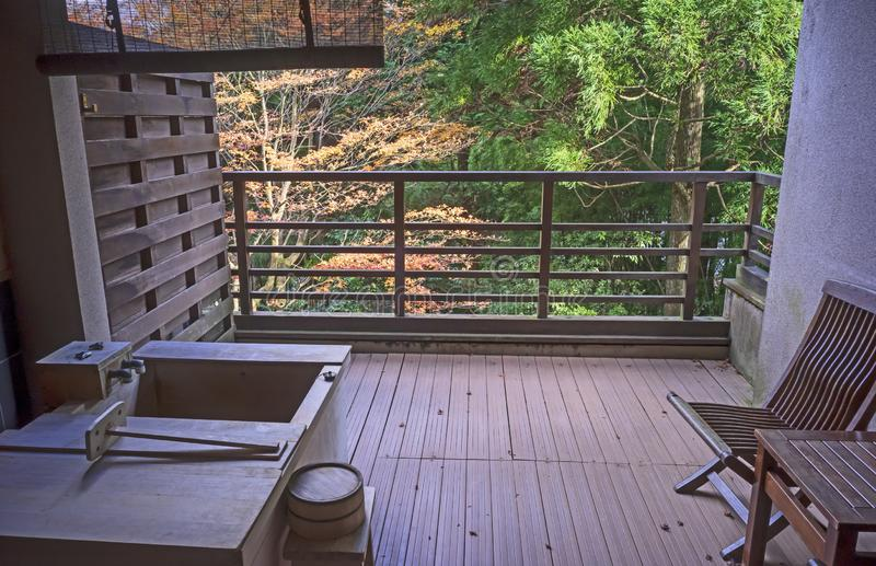 Balcón japonés en Hakone, Japón fotografía de archivo libre de regalías