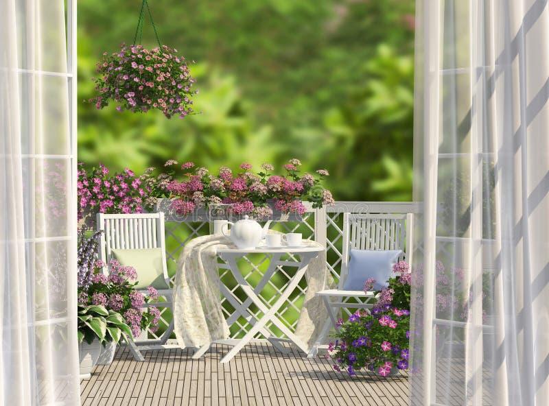 Balcón y flores fotos de archivo libres de regalías