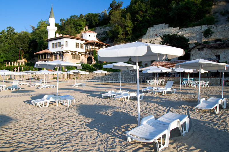 Balchik - beach and Queen Marie Palace. The Balchik Palace located in the Bulgarian Black Sea town of Balchik. Known as the the Quiet Nest Palace, it was stock image