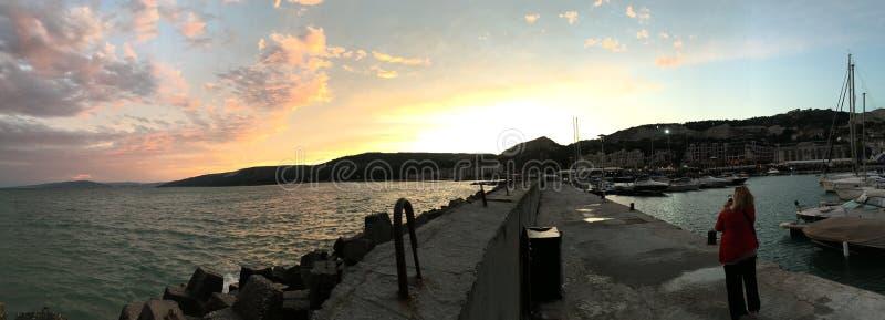 Balchik. Marina sunset stock image