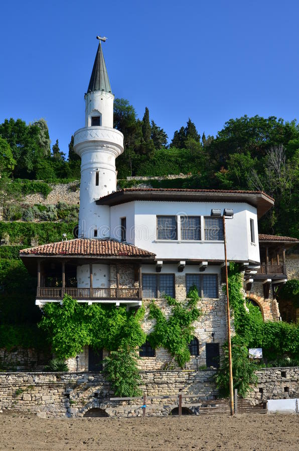 Balchik Palace. Situated in Bulgarian Black Sea town and resort of Balchik was constructed between 1926 and 1937, during the Romanian control of the region, for royalty free stock images