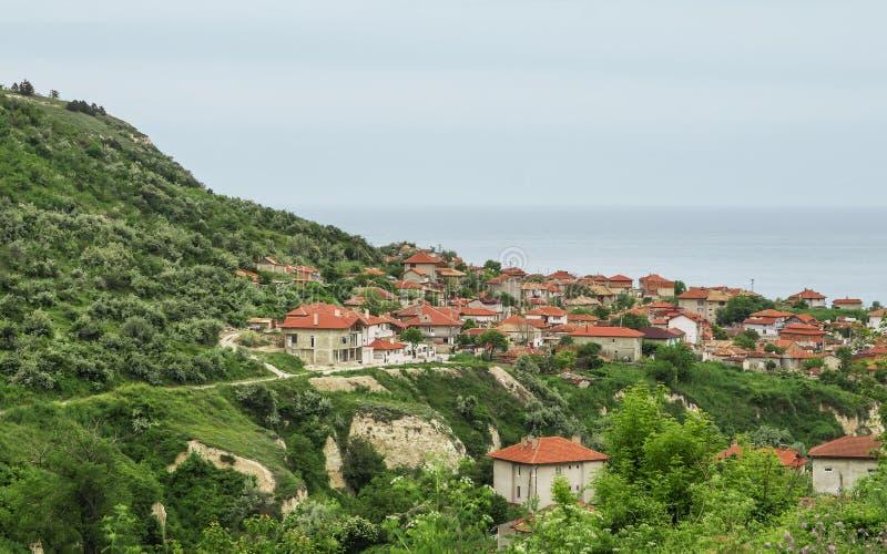 Balchik sikt, berömd badort, Bulgarien arkivbild