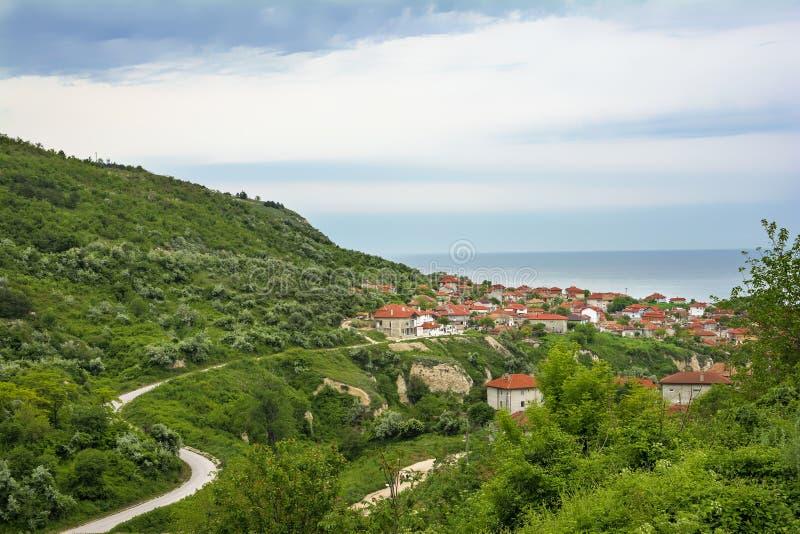 Balchik sikt, berömd badort, Bulgarien arkivbilder