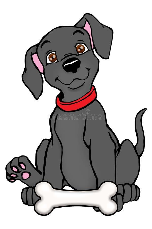 balck hund mit dem knochen stock abbildung illustration