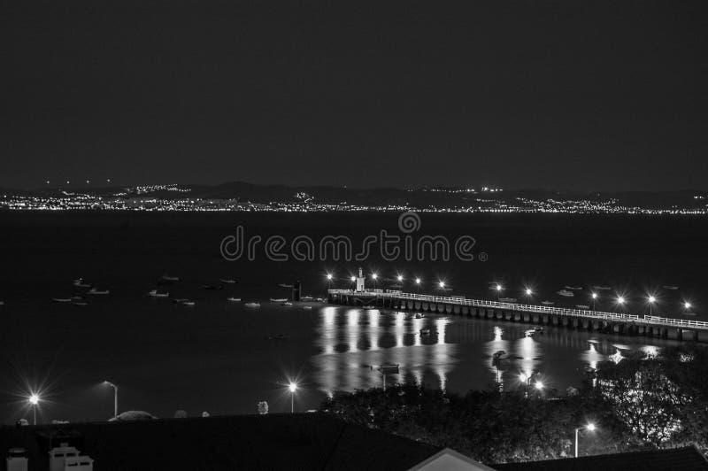 Balck and White alcochete. Pier city stock image