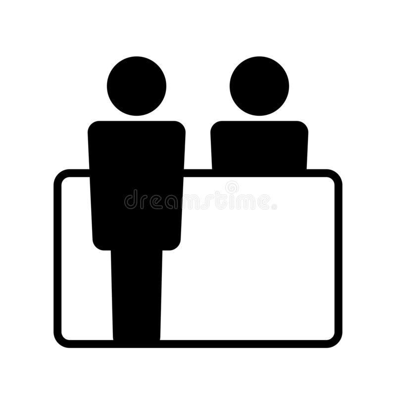 Balck and white icon for reception board stock illustration