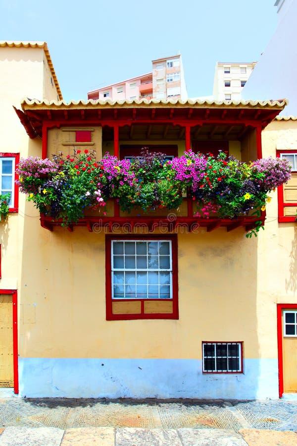 Balcon avec des fleurs photographie stock