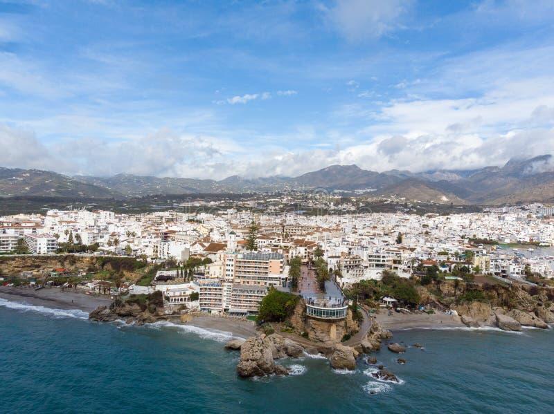 Balcon de Europa o balcón de Europa en la ciudad de Nerja en Costa del Sol, Andalucía, España fotos de archivo libres de regalías