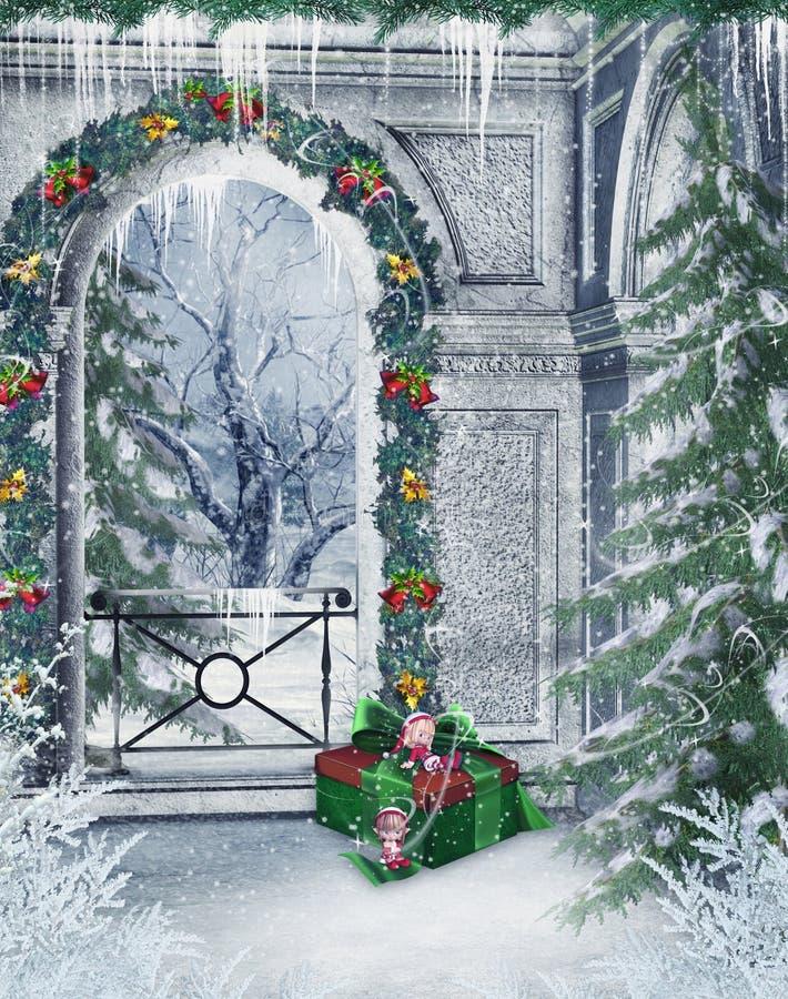 Balcon de l'hiver illustration de vecteur