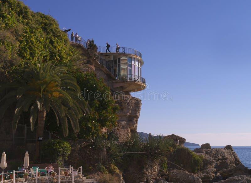 Balcon del Europa en Nerja, un centro turístico en Costa Del Sol cerca de Málaga, Andalucía, España, Europa fotos de archivo libres de regalías
