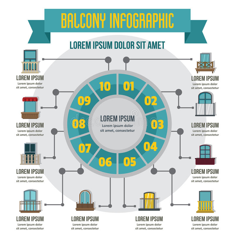 Balcon infographic, style plat illustration libre de droits