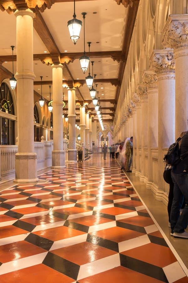 Balcon luxueux de fantaisie de lobby à Las Vegas vénitienne photo stock
