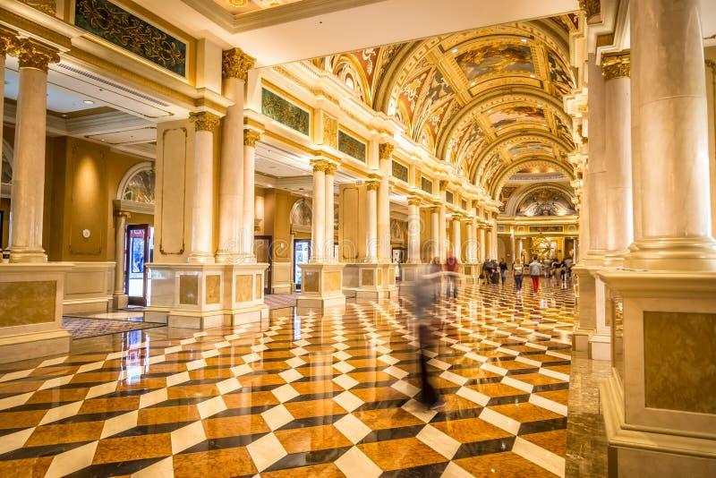 Balcon luxueux de fantaisie de lobby à Las Vegas vénitienne photographie stock