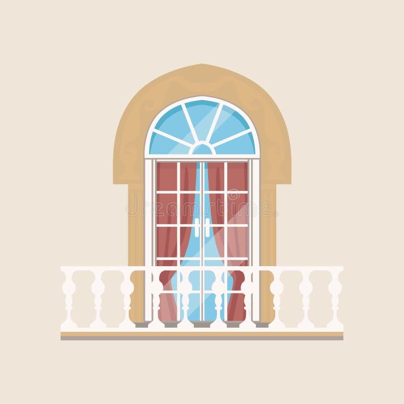 Balcone con le aste della ringhiera di pietra e l'illustrazione incurvata di vettore della finestra royalty illustrazione gratis