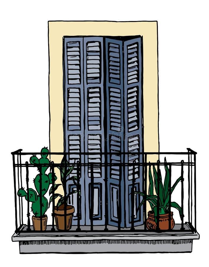Balcone d'annata con le inferriate del ferro battuto e porta con gli otturatori nello stile europeo, schizzo royalty illustrazione gratis