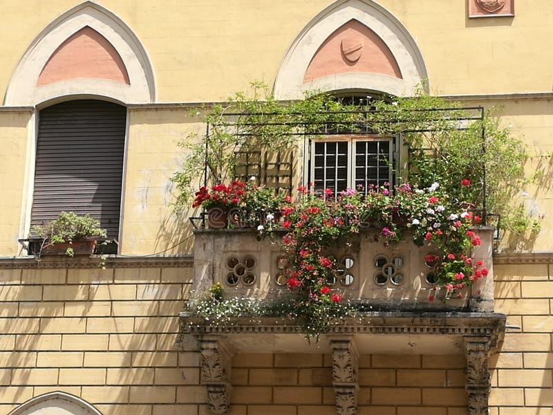 Balcone di fioritura di una costruzione al centro di Roma in Italia immagine stock