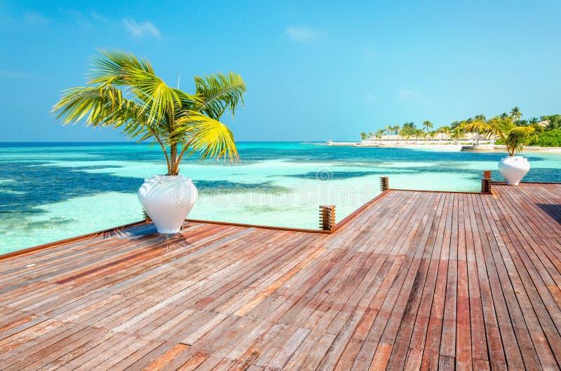 Balcone di legno di una località di soggiorno lussuosa con una vista di una spiaggia di paradiso con le palme alte fotografia stock