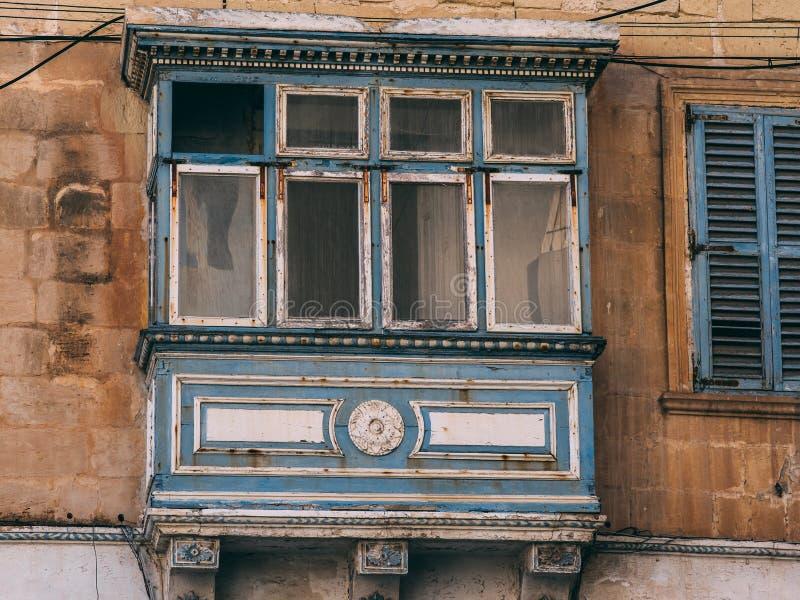 Balcone maltese tradizionale, Malta immagine stock