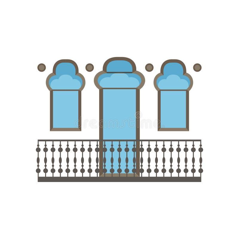 Balcone nell'illustrazione orientale di vettore di stile su un fondo bianco royalty illustrazione gratis