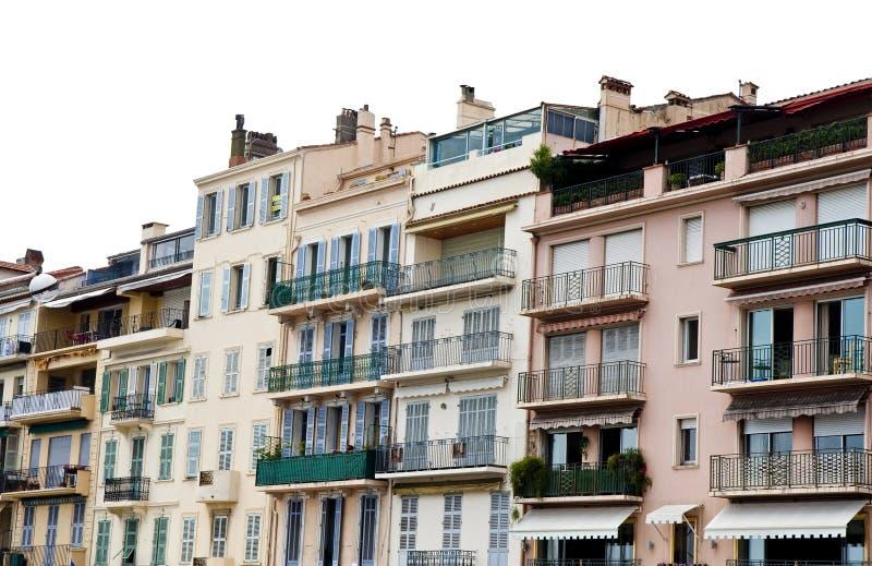 Balcones del hierro en edificios rosados imágenes de archivo libres de regalías