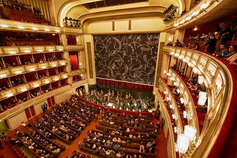 Balcones del teatro de la ópera de Viena imagen de archivo libre de regalías