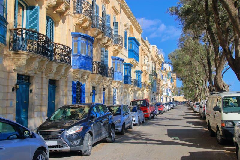 Balconi luminosi - la carta della città di La Valletta sull'isola di Malta fotografia stock libera da diritti
