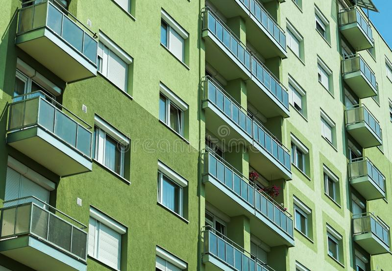 Balconies of the apartment building. M stock photo
