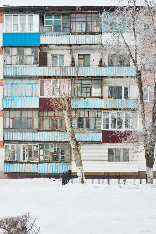 Balconies of an apartment building. The balconies of the apartment buildings of the Soviet winter royalty free stock photos