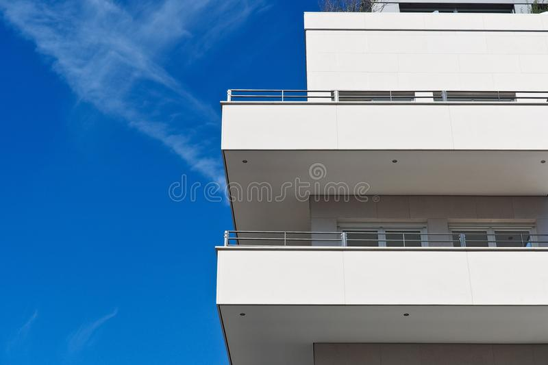 Balconies on apartment building royalty free stock images