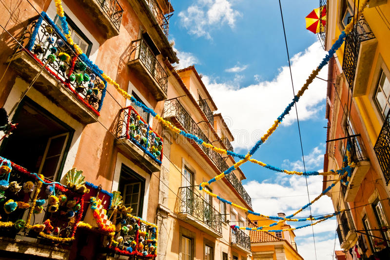 Balconies and garlands stock photo