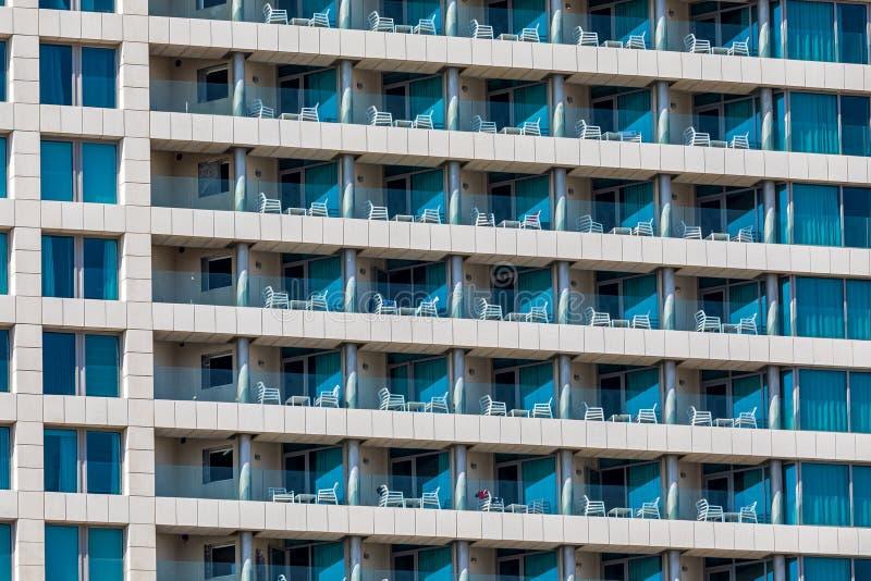 Balconies on hotel building in Tel Aviv. royalty free stock image