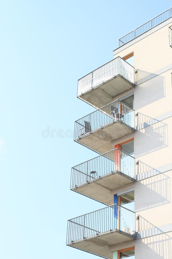 Balconies - House with flats. Modern residential house with flats - balconies (Prague, Czech Republic stock image
