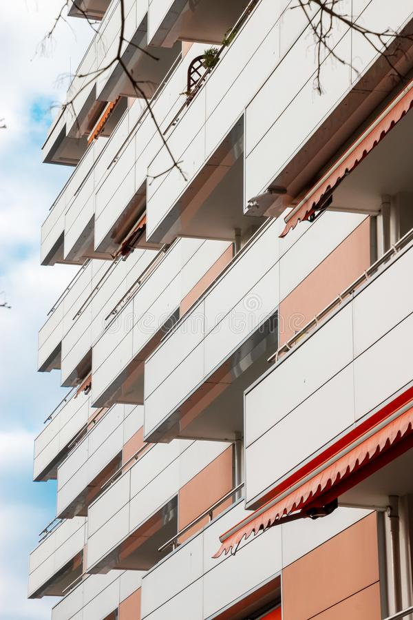 Balconies at a multiple dwelling stock photos