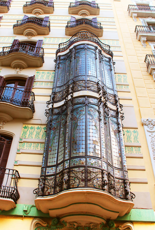 Balconies in old house in Barcelona royalty free stock photo