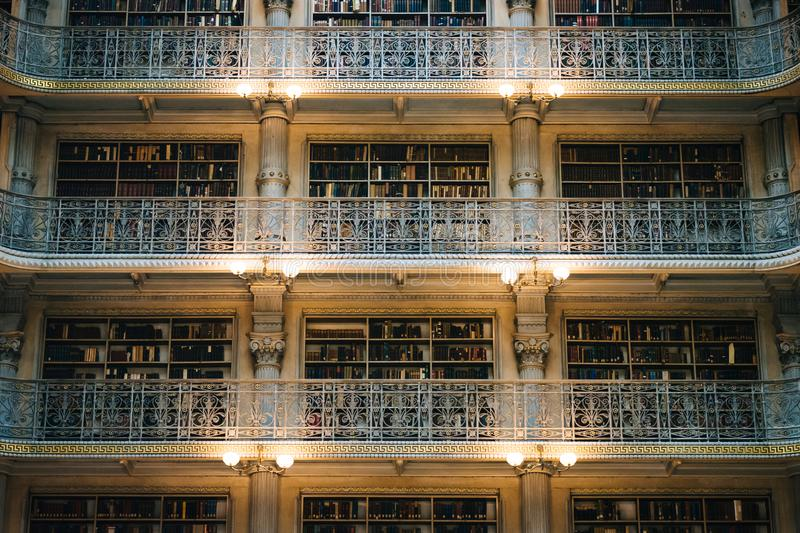 Balconies in the Peabody Library, in Mount Vernon, Baltimore, Maryland.  stock photo