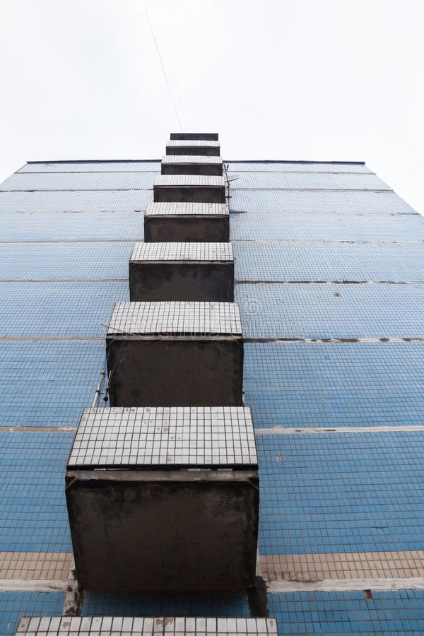 Balconies on the wall of the old high-rise building royalty free stock images