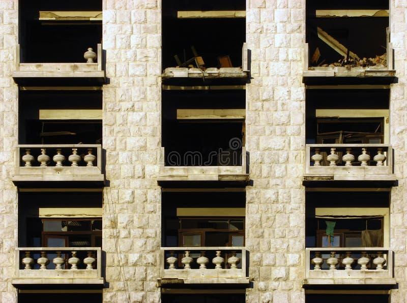 Balcons détruits photographie stock libre de droits