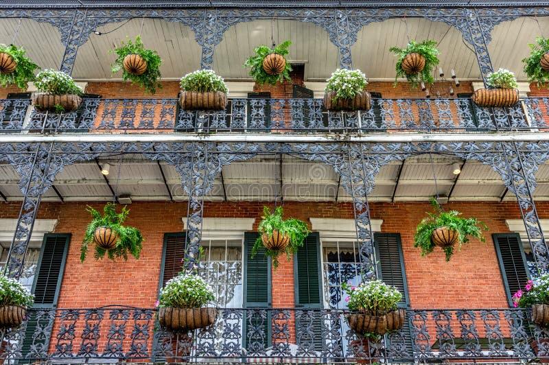 Balcons de quartier français avec des usines à la Nouvelle-Orléans images stock