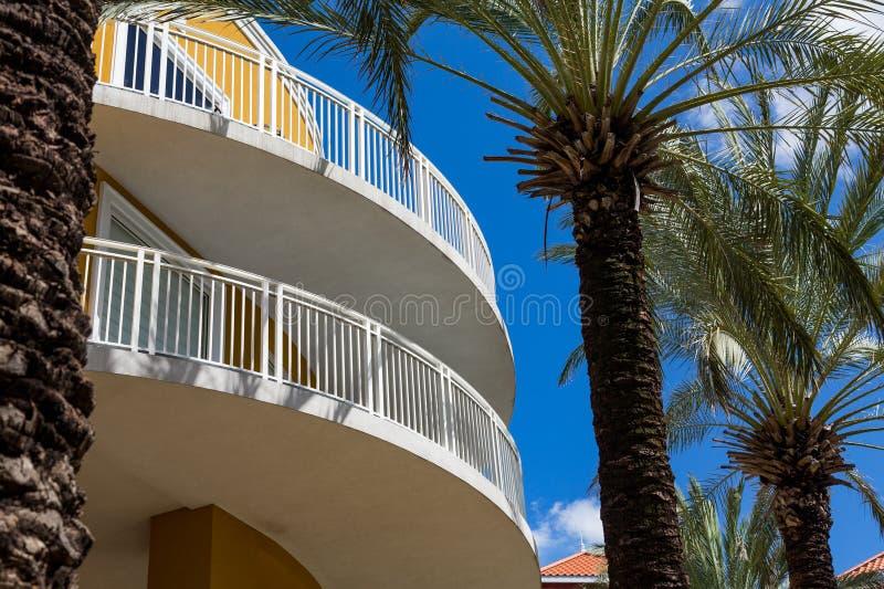 Balcons incurvés par jaune par des palmiers photos stock