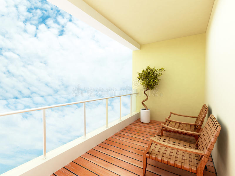 Balcony. Of a building with a sky view royalty free illustration