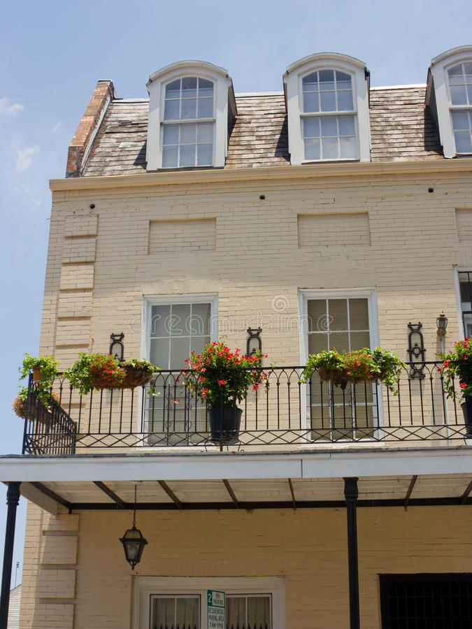 Balcony. Detail of colorful, old buildings in the French Quarter of New Orleans, LA royalty free stock image