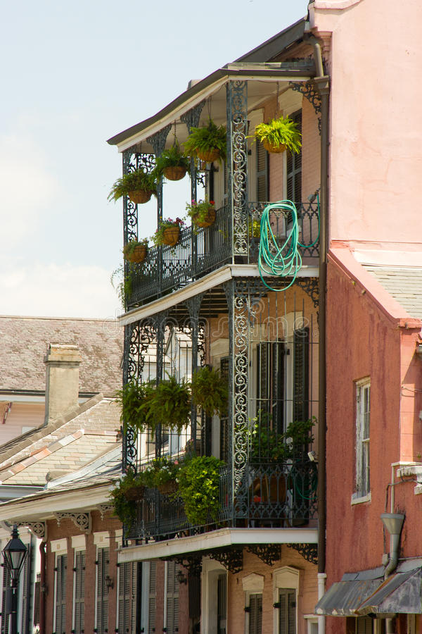 Balcony. Detail of colorful, old buildings in the French Quarter of New Orleans, LA royalty free stock photography