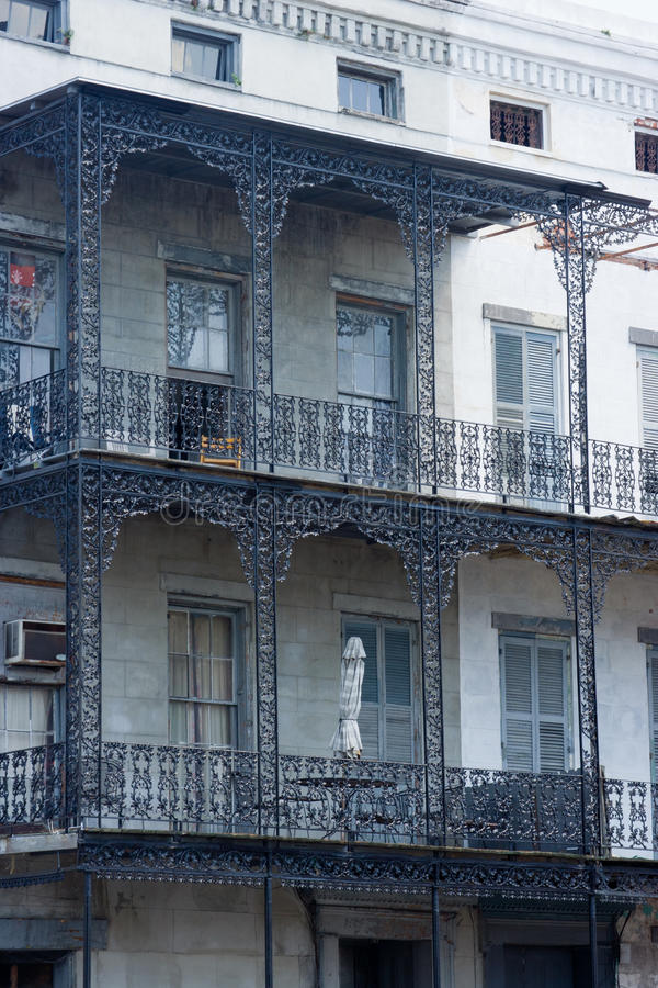 Balcony. Detail of colorful, old buildings in the French Quarter of New Orleans, LA stock photography