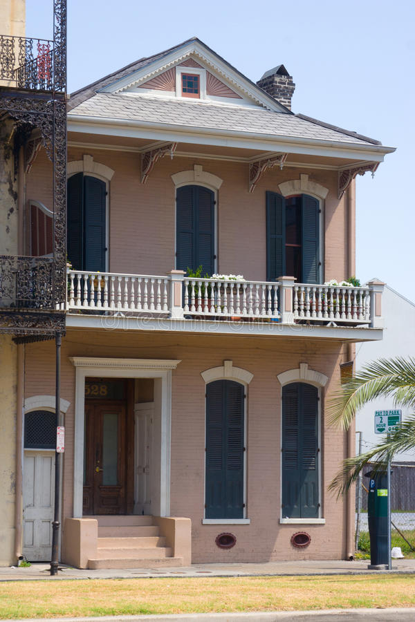 Balcony. Detail of colorful, old buildings in the French Quarter of New Orleans, LA royalty free stock photos