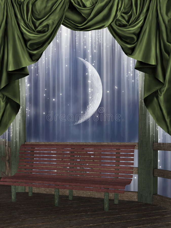 Balcony. In a starry night royalty free illustration