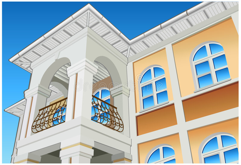 Balcony. With columns and beautiful view, private residence, illustration stock illustration